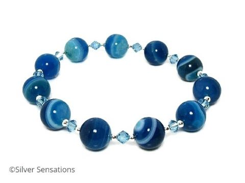 Blue Stripey Banded Agate Bracelet With Swarovski Crystals & Sterling Silver